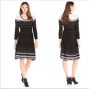 NINE WEST STRIPED A-LINE SWEATER DRESS SM